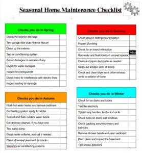 home maintenance checklist download