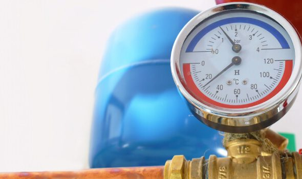 A domestic water pressure gauge